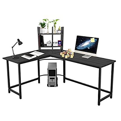 "Leve 66""x 50"" Home Office L-Shaped Desk Corner Computer Desk Large PC Laptop Sturdy Table Workstation with Free Storage Shelf and CPU Stand (Black) - Dimensions & Capacity — 66.1""(Long Side) x 49.2""(D) x 29""(H) , super bearing 450 lbs, 6 months quality assurance provided. L-shaped Corner Design — wide desktop & space saving, provides a surprisingly large amount of working area. You will have plenty of surface space for writing, computer work and other home or office activities, provides the best use of limit space. Durability Material — the panel is made of durable MDF with high glossy and smooth finish, easy to clean, safe and comfort to use. The desk frame utilizes heavy-duty and powder-coated steel, which ensures excellent stability and durability. - writing-desks, living-room-furniture, living-room - 41xUFHyEWTL. SS400  -"