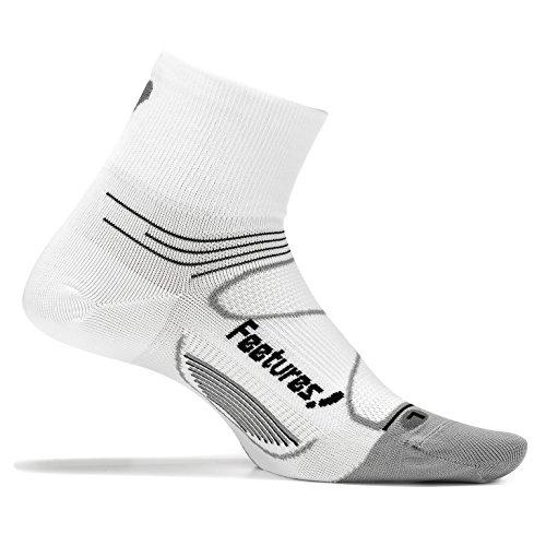 Feetures! - Elite Ultra Light - Quarter - White/Black - Size Medium - Athletic Running Socks