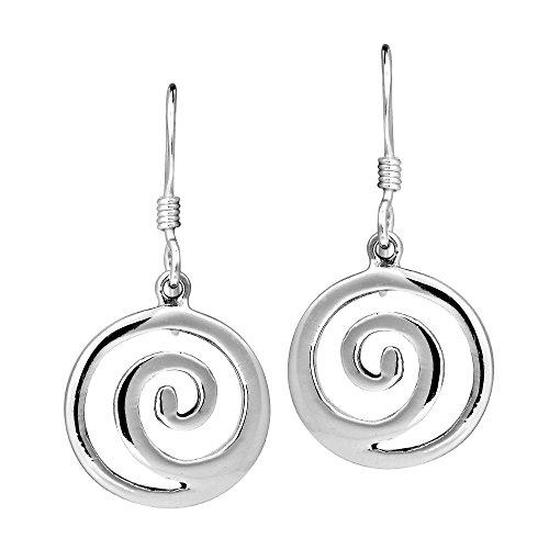 Modern Maze Swirl .925 Sterling Silver Dangle Earrings ()