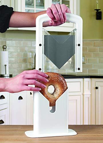 Hoan The Original Bagel Guillotine Universal Slicer, White, 9.25-Inch - 5086739
