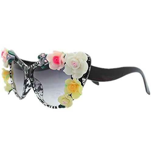 Frame Cat UV la Plage d'été Protection Brillants Designer Nuances Lunettes Sunglasses nouveauté Yeux KOMEISHO la Soleil Flower la Speckle pour de à Lady's Main USqASnZ7