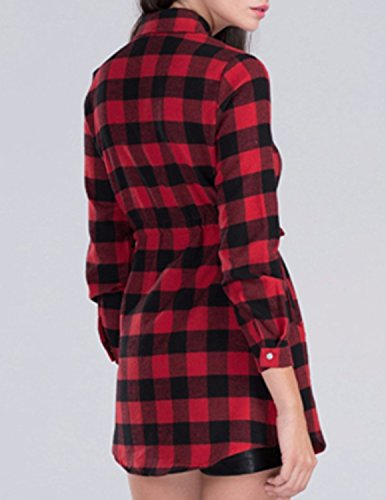 MODETREND Mujer Camisa Camiseta Cuadros Manga Larga de la Cintura Blusas Tops T-shirt Rojo