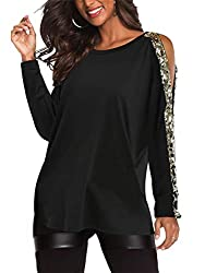 Cold Shoulder Long Sleeves Tops With Sequins