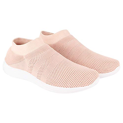 TATTOOZ PVC Spil-in Casual Breathable Sports Road Running Mesh Shoes Walking Jogging Joota Gym Exercise Sneakers for Women – Natural; Size