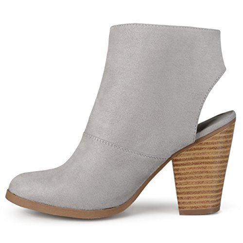 Journee Faux Cut Womens Grey Heel Booties Suede Collection out EUWrqU