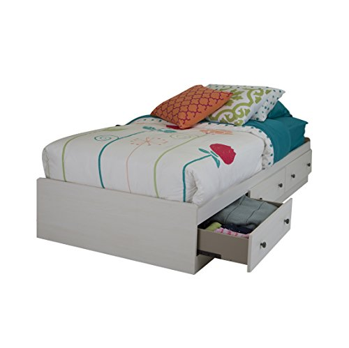 South Shore Country Poetry Mates Bed with 3 Drawers, Twin 39-inch, White Wash