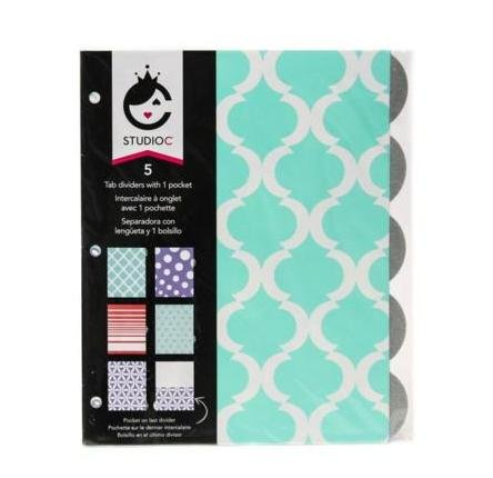 "Studio C ""Pattern Play"" 5 Tab Dividers W/ 1 Pocket by Studio C"