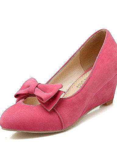 ZQ Zapatos de mujer-Tac¨®n Cu?a-Cu?as / Punta Redonda-Tacones-Oficina y Trabajo / Casual-Vell¨®n-Negro / Amarillo / Rojo / Beige , yellow-us10.5 / eu42 / uk8.5 / cn43 , yellow-us10.5 / eu42 / uk8.5 / red-us8 / eu39 / uk6 / cn39