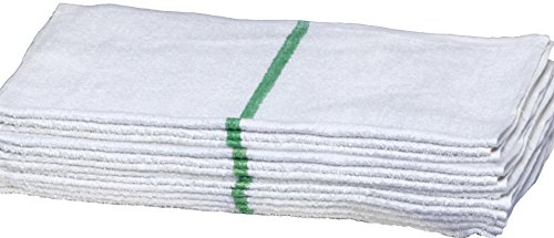 Atlas 24-Pack Economy 16x27 Salon Hand Towels White w/Green Stripe (Barber Stripe)