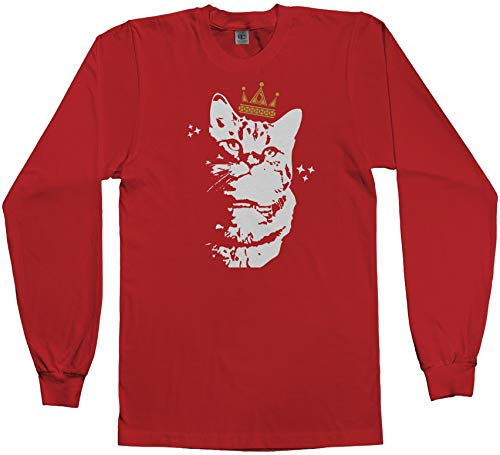 Cat with Crown | Funny Animal Lover Men's Long Sleeve T-Shirt | X-Large, Red