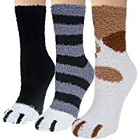 TRJHomes Fluffy Cat Paw Socks - 3 Pairs Package Super Soft Cute Slipper Socks Designed For Autumn and Winter indoor…