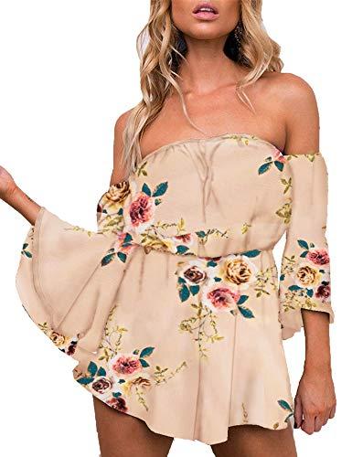 Floral Summer Romper - Relipop Women's Summer Floral Off Shoulder 3 4 Sleeves Romper Jumpsuit (Large, T2)