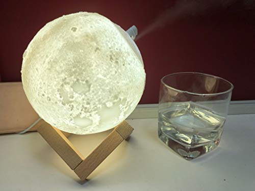 Humidifier Lamp- 5.1 inch 3D Moon Lamp -Three Colors for Different Scenes, Long Touching for -