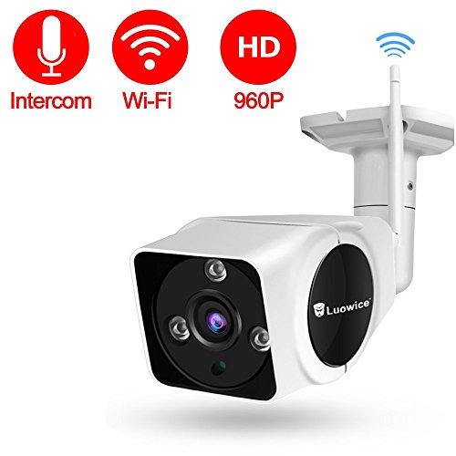 Luowice Wireless Security Camera with Intercom Function WiFi IP Camera 50ft Night Vision and Built-in 16G SD Card Indoor/Outdoor IP66 Waterproof 960P