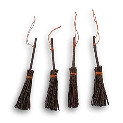Wooden Miniature Pine Craft Brooms - 3 Inches - 4 Piece: Toys & Games