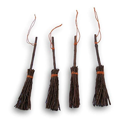 Miniature Witch - Wooden Miniature Pine Craft Brooms - 3 Inches - 4 Piece