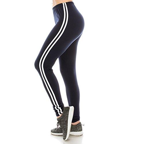 Fashionazzle Women's Ultra Soft Brushed Best Colors Solid Leggings (Stripe/Navy, Regular(XS-L)) (Blue Stripe Leggings)