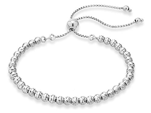 MiaBella 925 Sterling Silver Diamond-Cut Adjustable Bolo 4mm Bead Bracelet for Women, Handmade Italian Beaded Ball Chain Bracelet, Choice White or Yellow (Sterling-Silver)