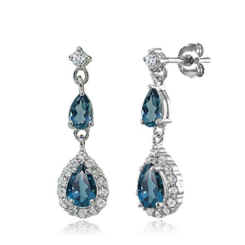 (Sterling Silver London Blue and White Topaz Fashion Teardrop Dangle Earrings)
