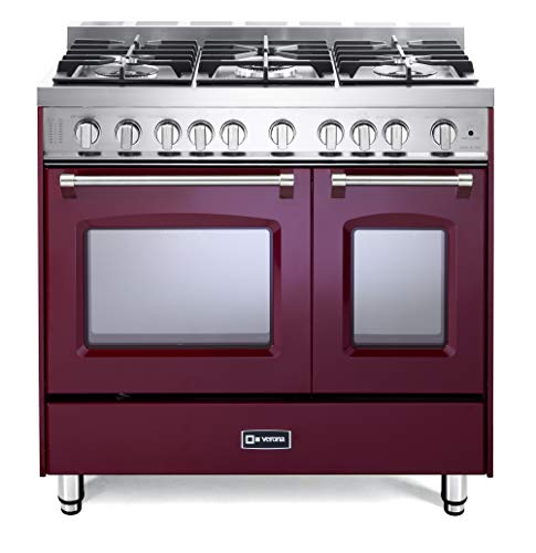 (Verona Prestige Series VPFSGG365DBU 36 inch. All Gas Range 5 Sealed Burners Double Oven Convection Storage Drawer Burgundy)