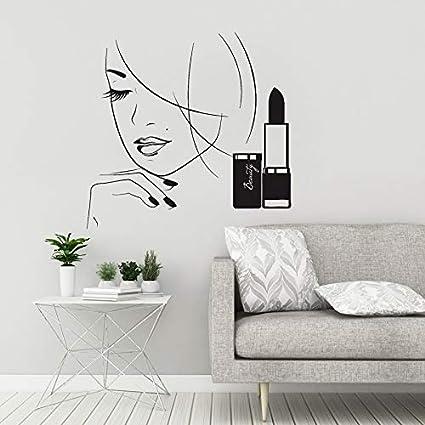 Camere Da Letto Rossetto.Adesivo Murale Salone Di Bellezza In Vinile Bella Donna Spa Trucco