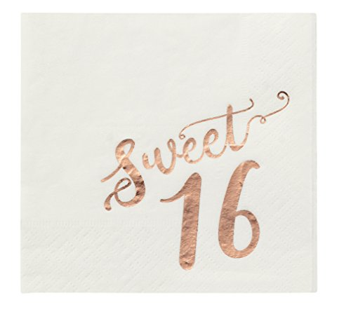 Birthday Party Cocktail Napkins - 50 Pack Rose Gold Foil Sweet 16 Disposable Party Paper Napkins, Perfect for 16th Birthday Decorations and Party Supplies, 5 x 5 Inches Folded, Rose Gold and White]()