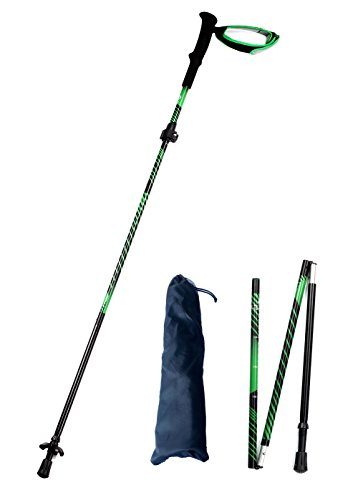 Alafen Aluminum Quick Lock Collapsible Ultralight Walking Climbing Stick Trekking Hiking Pole Green 1PC