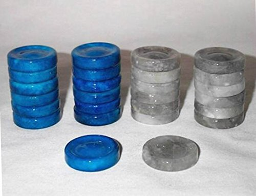 Quality Stone Checkers Pieces, Replacement Checker Pieces Only - Blue and Gray, 1 1/4 Inch by Khan Imports