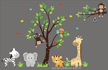 Baby Nursery Wall Decals Safari Jungle Childrens Themed 83u0026quot; X 138u0026quot; (Inches) & Amazon.com: Baby Nursery Wall Decals Safari Jungle Childrens Themed ...