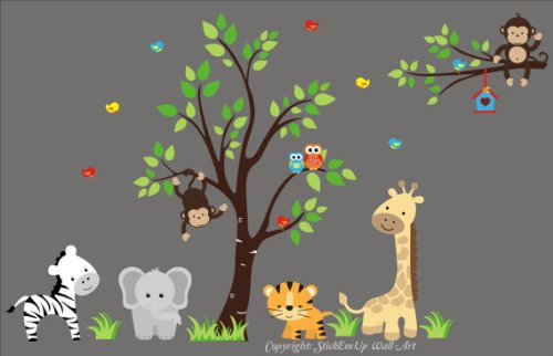 Baby Nursery Wall Decals Safari Jungle Childrens Themed 83'' X 138'' (Inches) Animals Trees: Repositionable Removable Reusable Wall Art: Better than vinyl wall decals: Superior Material by Nursery Wall Decals