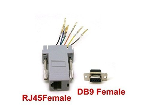 Tekit® Rs232 Db9 Female to Rj45 Female Connector Converter Adapter Rj45 Female to Db9 Female Modular Adapter(gray)
