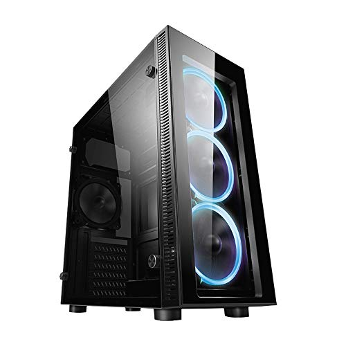 ionz KZ02 PC COMPUTER MIDI CASE M/ATX TEMPERED GLASS TOWER WITH 3 HALO LED FANS BLUE