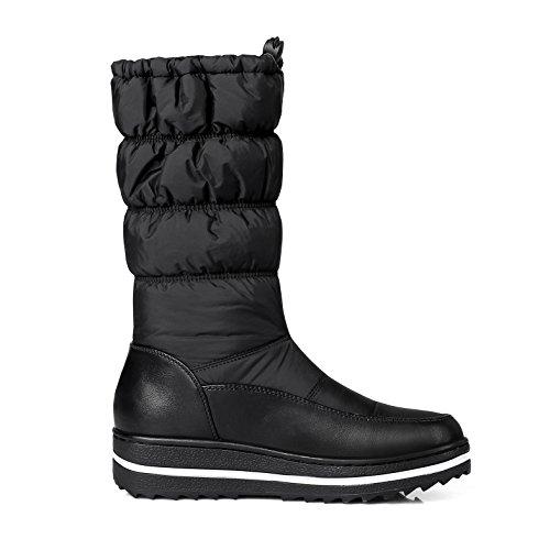 Stivali Warm Met Blue Flat Toe Ladies Down Round Fiori Pu Platform Donna Slip A on Da Neve Fashion TYx6Fv