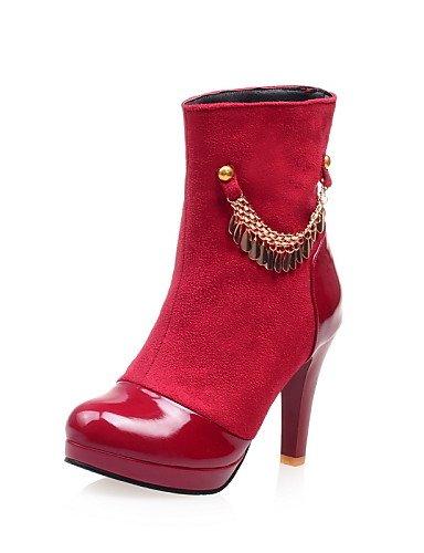 Xzz us6 Noir 5 Talon À Eu37 Uk4 La Décontracté Femme Similicuir Mode 5 Bleu Pointu Habillé Rouge 7 Bottes Cône Cn37 Black Chaussures Bout 5 FqrITBwF