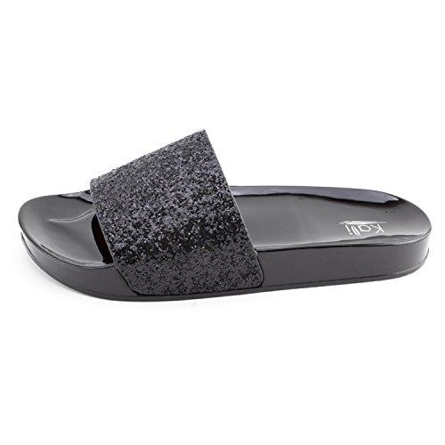 d09b0de80edd Kali Womens Wide Single Glitter Band Slip On Slide Sandals (Adults ...