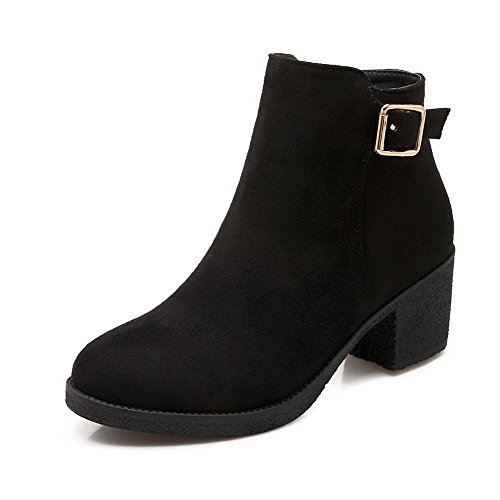 Allhqfashion Kitten Suede Round Solid Closed Black Imitated Heels Zipper Women's Toe Boots rq1nwApr