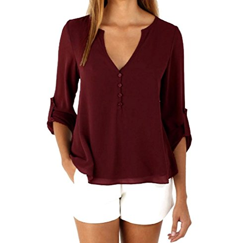 Gillberry Women Loose Long Sleeve Chiffon Casual Blouse Shirt Tank Tops Blouse (XXXL, Red) ()