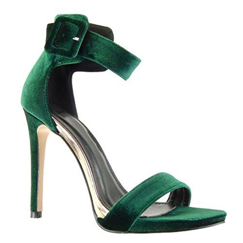 Angkorly - Scarpe da Moda sandali scarpe decollete stiletto sexy donna tanga fibbia Tacco Stiletto tacco alto 11 CM - Verde