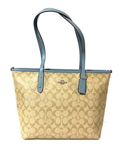 Coach Signature City Zip Tote Bag Handbag (SV/Lt Khaki/Cornflower), Large