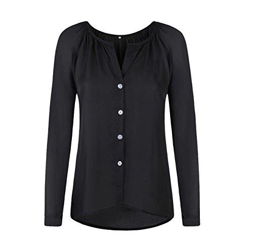 Chemise de Tops Lache Tunique Longues Noir Hauts Femme Casual Mousseline Soie Manches Blouse 5BTn0