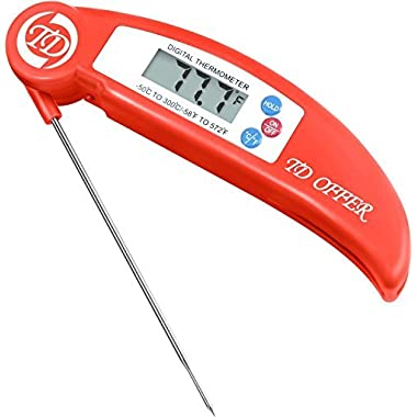Digital Instant Read Meat Thermometer Folding Probe,Great for Kitchen Cooking Food and BBQ Grill