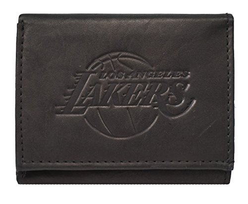 Rico Los Angeles LA Lakers NBA Embossed Logo Black Leather Trifold Wallet by Rico