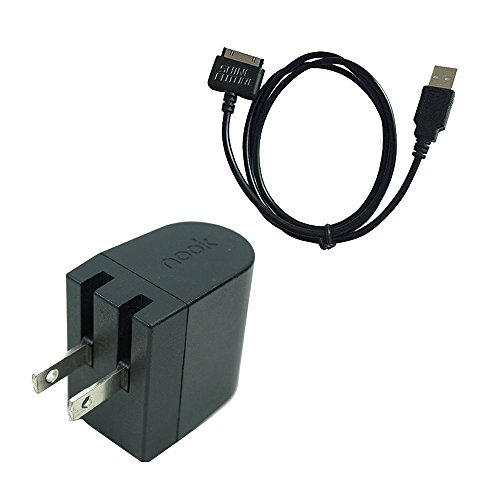 Price comparison product image Nook HD Charger Nook Tablet Charging Cable Barnes Noble Power Kit AC Wall Charger Adapter Plus USB Data Cable for Nook HD 7 Inch HD+ 9 Inch BNTV400 BNTV600