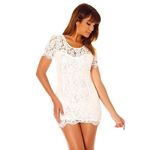 Miss Wear Line - Robe blanche à dentelle sans manche et doublure