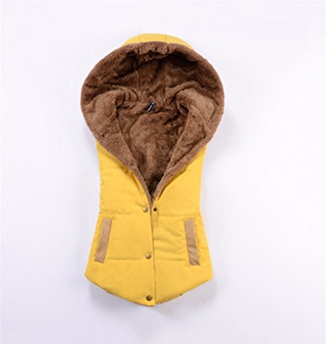 キロメートル小学生不十分な春秋フード付カジュアルベスト_yellow_XXXL(着丈59cm、胸102cm)