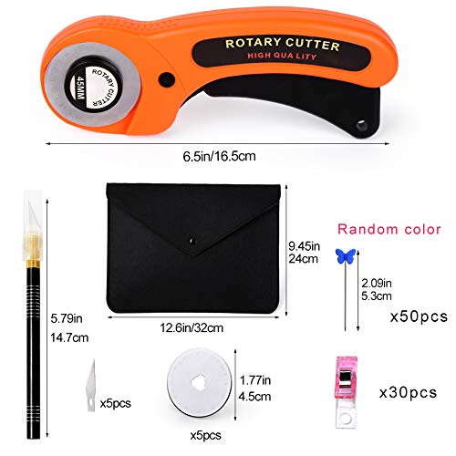 85 PCS Rotary Cutter Kit,Including Rotary Cutter and Mat, Patchwork Ruler, Carving Knife, Storage Bag, Replacement Cutter Blades, Rotary Cutter Tool Kit for Fabric Sewing Quilting
