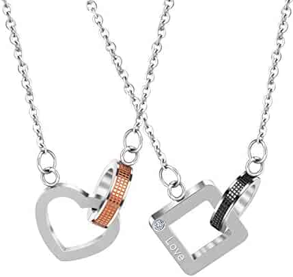 0de0606cd9 UHIBROS His and Hers Couple Necklace Stainless Steel Matching Pendant  Necklace Carved with Eternal Love 2pcs