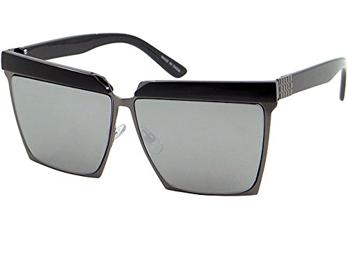 Oversized Square Sunglasses Bold Frame Double Brow Mens Womens Shades (63mm-Silver, - Tom Aviator Shades Cruise
