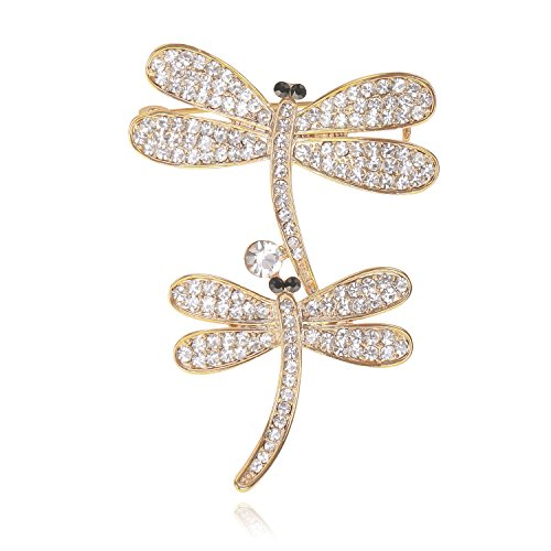 Fashion Cute Animal Jewelry Gold-Tone Clear Crystal Dragonfly Bouquet Bridal Wedding Brooches Pin