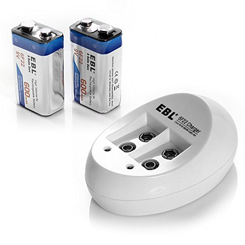 2x 9V 600mAh Li-ion Lithium Ion Rechargeable Battery + NiMH NiCd Battery Charger (Li Ion 9v Battery)
